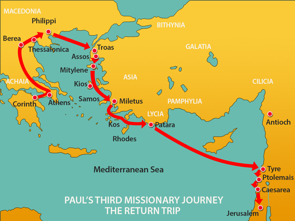 Paul Goes to Jerusalem – Map Of Pauls Travels