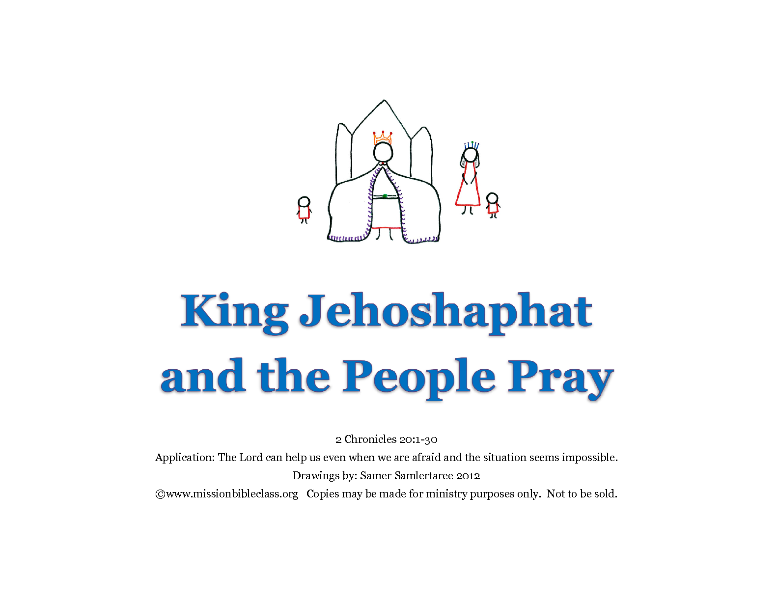 Jehoshaphat And The People Pray Mission Bible Class King Jehoshaphat Coloring Page